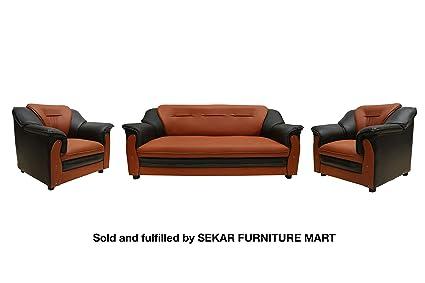 Sekar Lifestyle 3 1 1 Dual Tone Polyurethane Sofa Set For Living Room Colour Black Orange