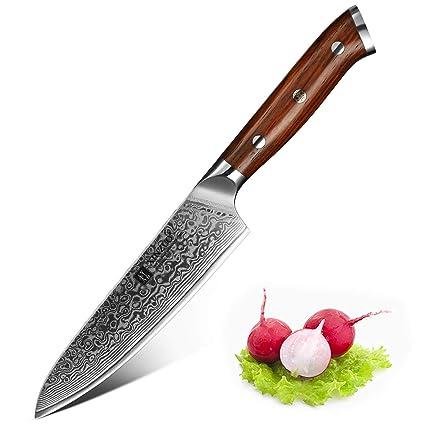 XINZUO Cuchillo de Uso para Fruta Verdura 13cm de Acero Damasco Japonés 67 Capas Profesional Cuchillo de Fruta Cocina con Rosewood Mango - Yu Serie