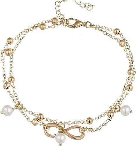 Women//men fashion jewelry Infinity Gold//Silver chain anklet bracelet