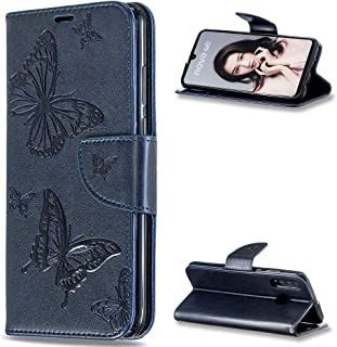 ZCXG Compatible with Huawei P30 Lite Case Blue Clear Butterfly Leather Wallet Flip Stand Shockproof Flip Full Body Protection Magnetic Closure Phone Protective for Huawei P30 Lite
