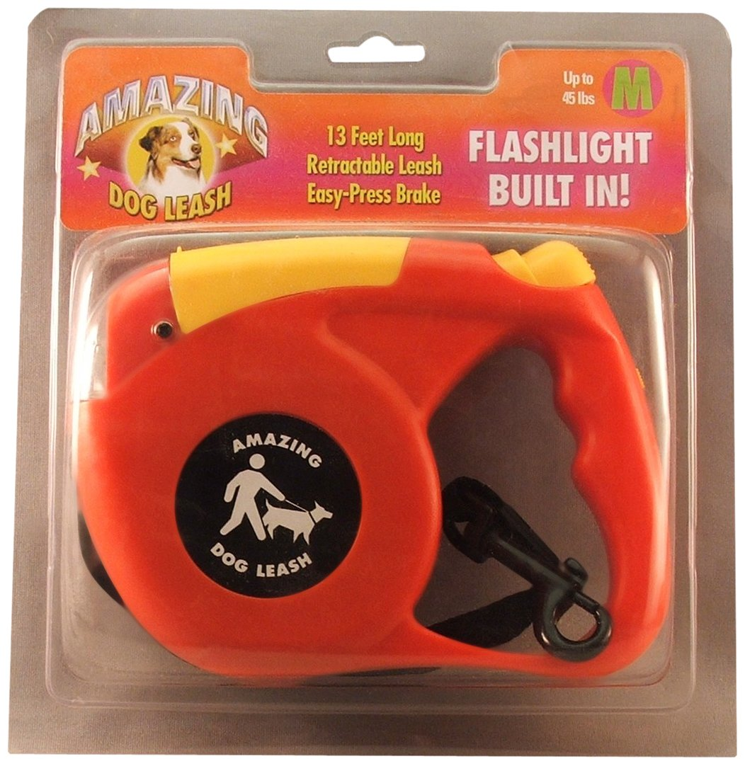 Amazing Flashlight Retactable Leash for Dogs Cats up to 22-Pound, Red and Yellow