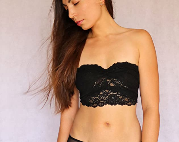 Amazon.com  Black Lace Bandeau Top with Detachable Halter Strap. Strapless Bra  top. Bralette Lingerie  Handmade 1bd64cab5