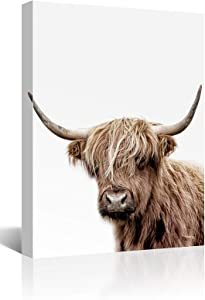 Mooflapha Farmhouse Bathroom Kitchen Wall Decor, Brown and White Animal Hairy Cow Cattle Rustic Canvas Wall Art 1 Panel 12'' x 16''