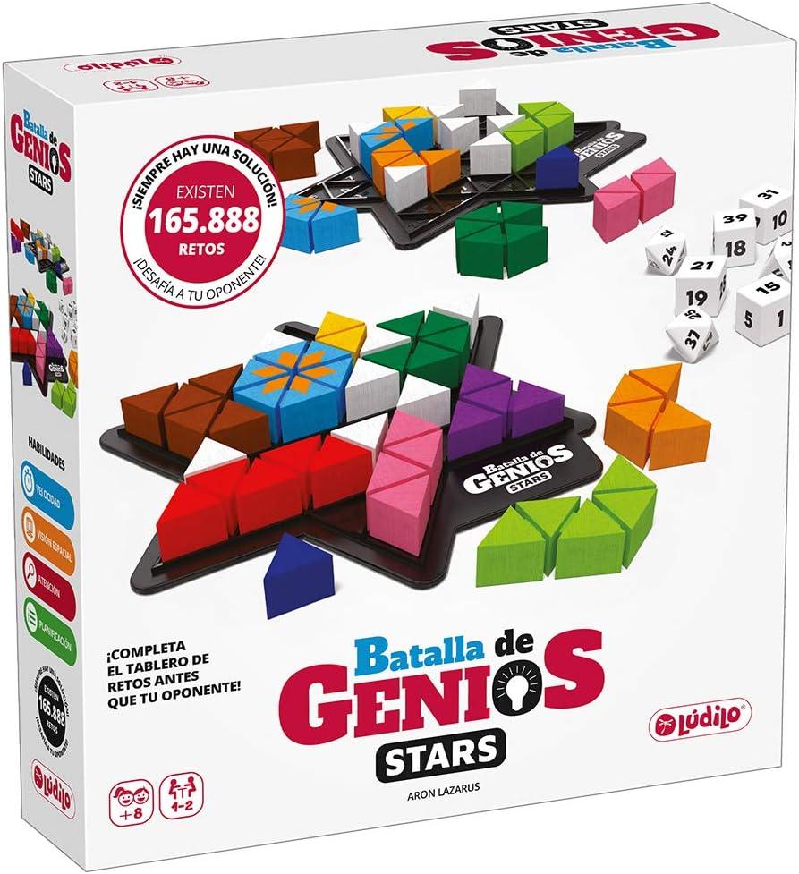 Lúdilo- Batalla de genios Stars, Rompecabezas 3D, Mesa Educativo, Puzzles para niños con Piezas de Madera, Juegos Tablero, Potencia la lógica y Velocidad (80955)
