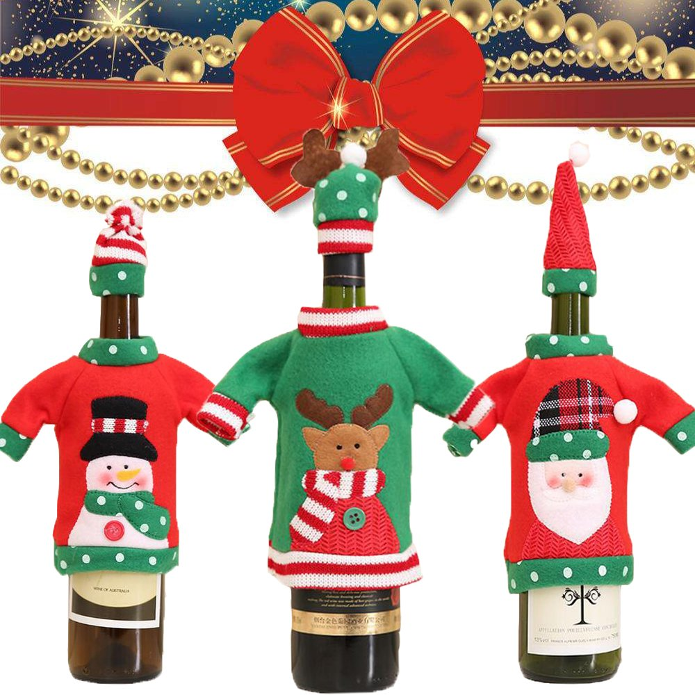 Christmas Wine Bottle Cover Knit Sweater 3pcs Red Wine Bottle Covers Dress Santa Claus Gift for Christmas Decorations Party Festival Holiday