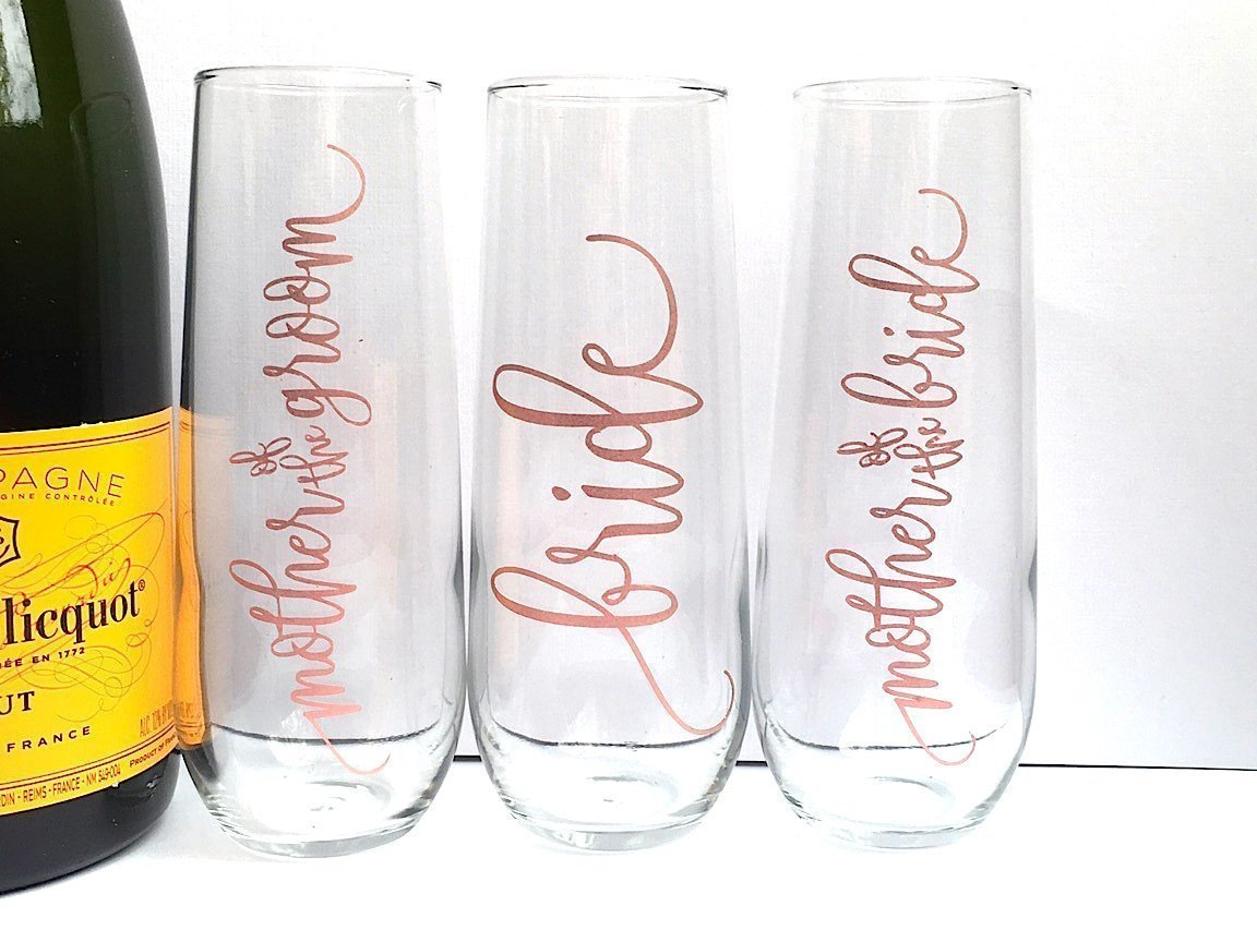 Mother of the Bride and Groom Rose Gold Champagne Flutes