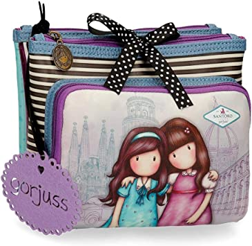 Neceser Gorjuss Tres Compartimentos Friends Walk Together, Morado, 27x17x10 cm: Amazon.es: Equipaje