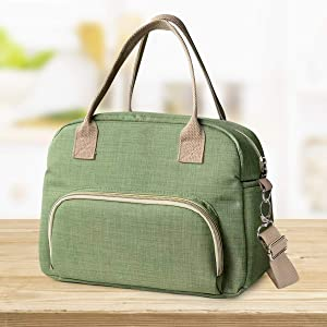 Insulated Cooler Leakproof Reusable Lunch Bag - Lunch Box Tote Bag with Adjustable Shoulder Strap for Women and man Multi-functional Large Capacity (Green)