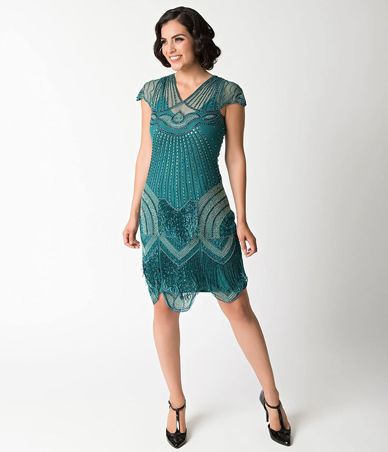 1920s Style Teal Beaded Deco Cap Sleeve Beatrice Flapper Dress at ...
