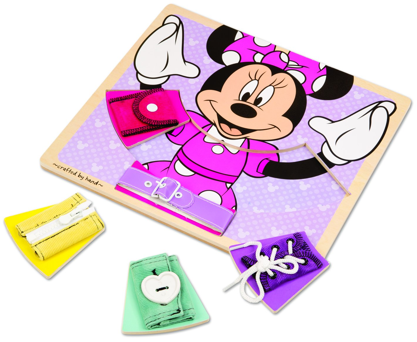 Melissa Doug Disney Minnie Mouse Wooden Basic Skills Board Zip Lace Tie Buckle Button and Snap