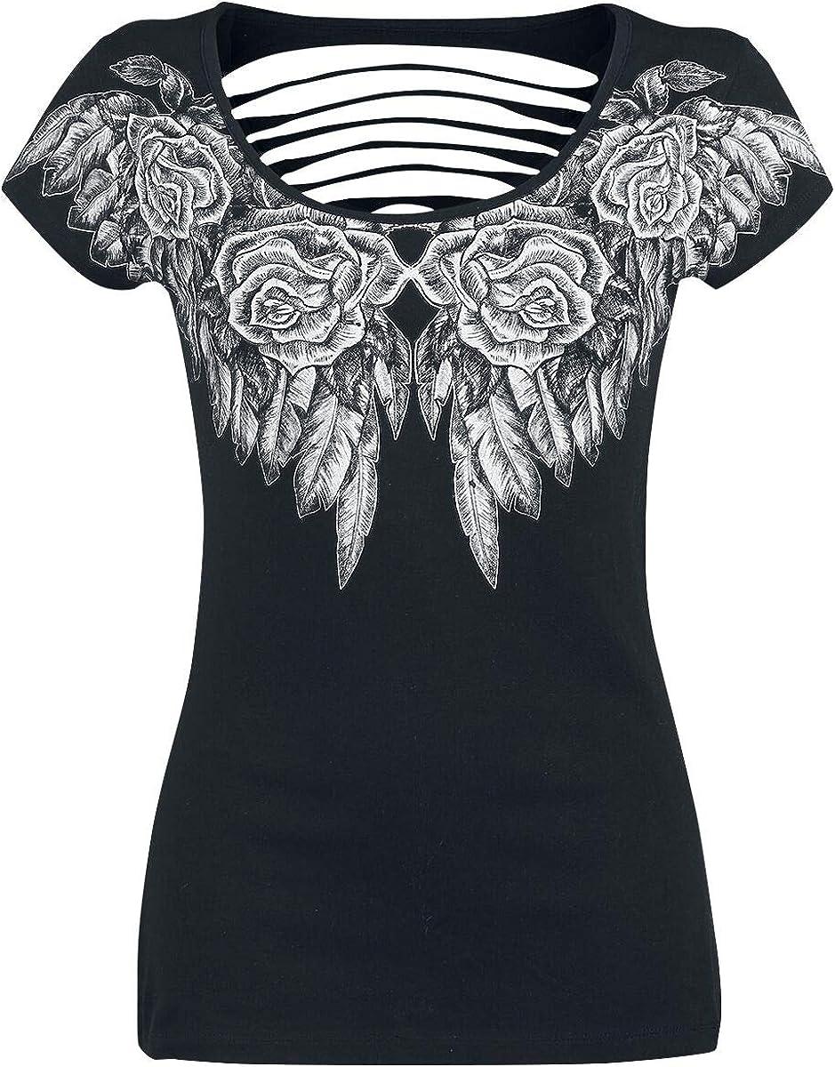 Rock Rebel by EMP Shreds Mujer Camiseta Negro, Cut-Outs Regular: Amazon.es: Ropa y accesorios