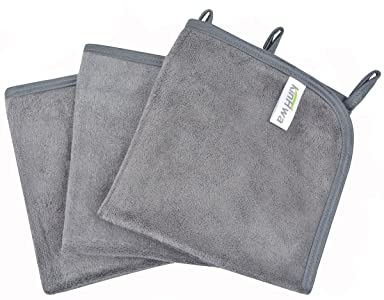 KinHwa Reusable Face Cloths Soft Makeup Remover Cloth Microfiber Washcloths Facial Cleaning for Women 12inch x 12inch 3 Pack Gray