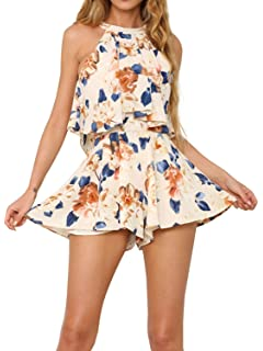 4226620a23 Simplee Apparel Womens Sleeveless Halterneck 2 Piece Floral Print Mini Playsuit  Short Jumpsuit