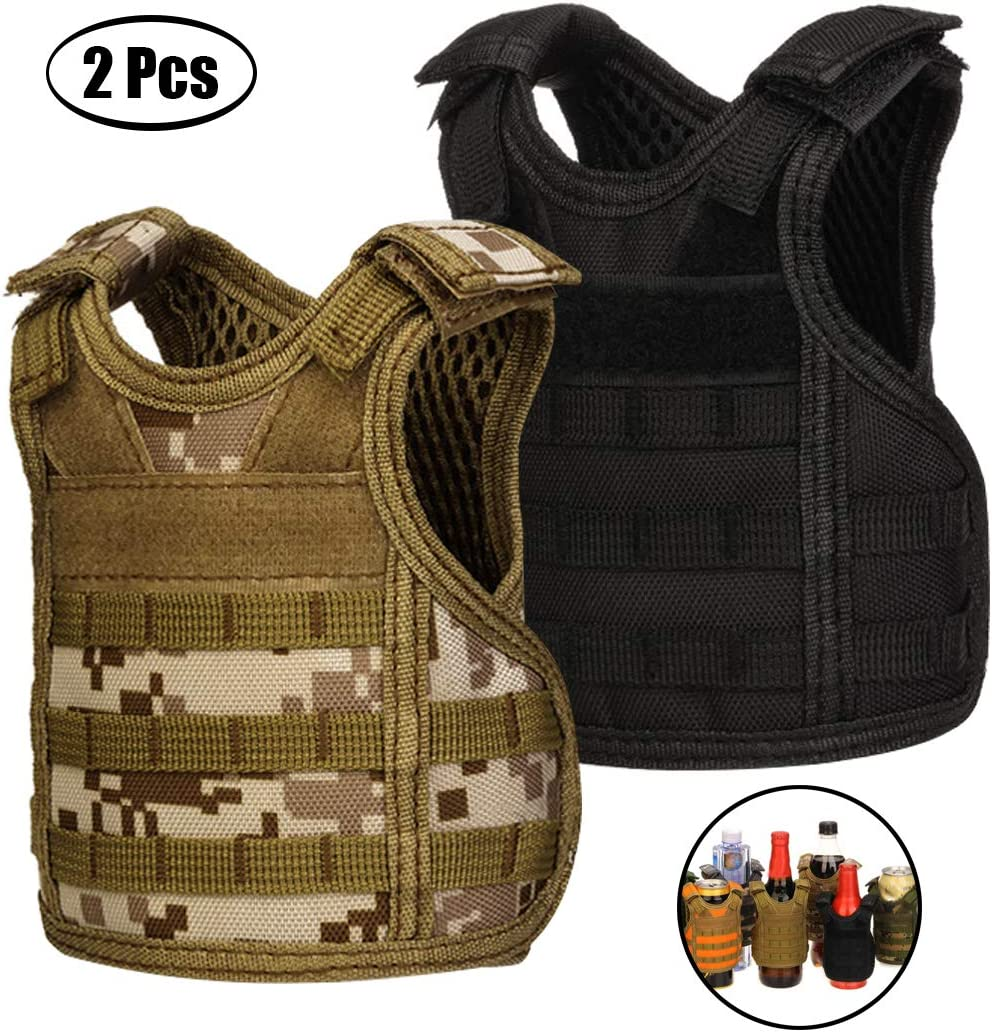 giacca refrigerante Molle Desert Camo regolabile portabottiglie per lattine o bottiglie da 340 ml o 473 ml 2 Pack Mini gilet tattico da birra nero