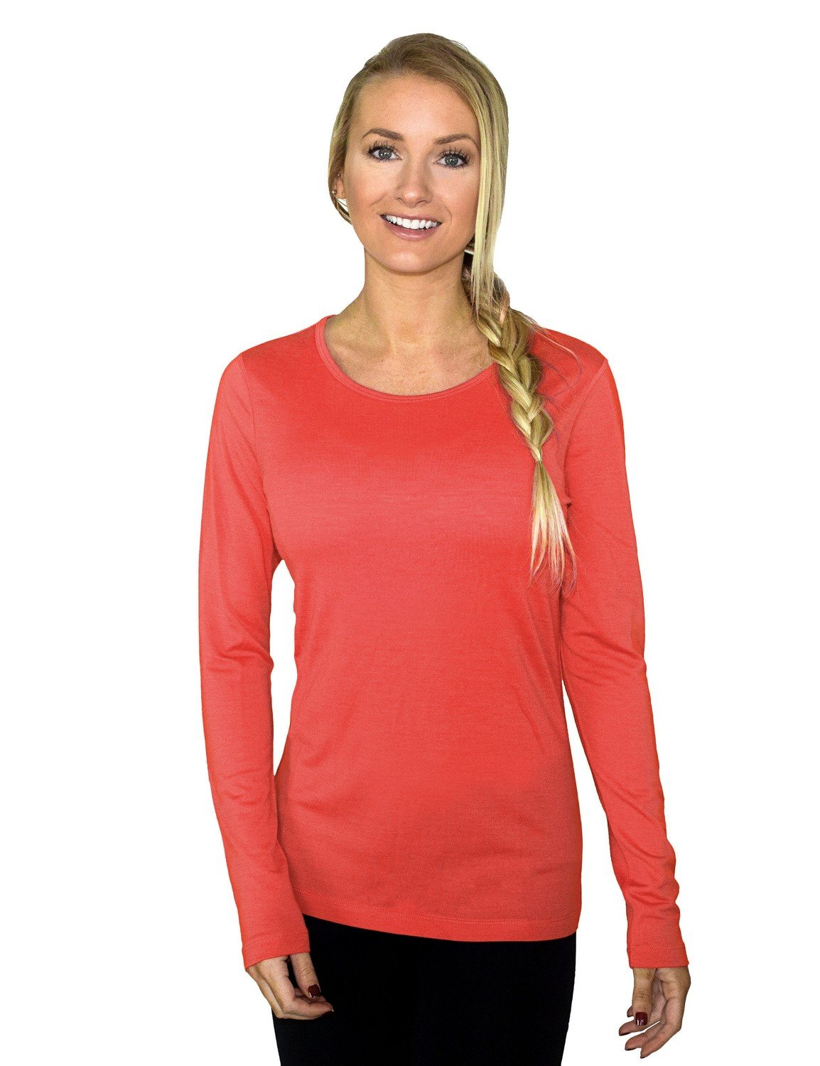 Woolx Remi - Women's Long Sleeve Tee - Lightweight, Moisture Wicking - Merino Wool Top, Spiced Coral, Medium