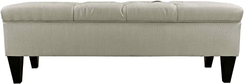MJL Furniture Designs Brooke Collection Diamond Tufted Upholstered Long Bedroom Storage Bench, Sachi Series, Khaki