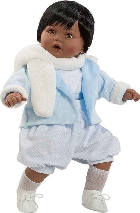 Amazon.es: Berbesa- Muñeco Baby dulzón negrito, con Traje Azul y Bufanda (8035N1): Juguetes y juegos