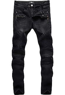 9 Crowns Mens Distressed Stretch Slim Fit Moto Denim Jeans
