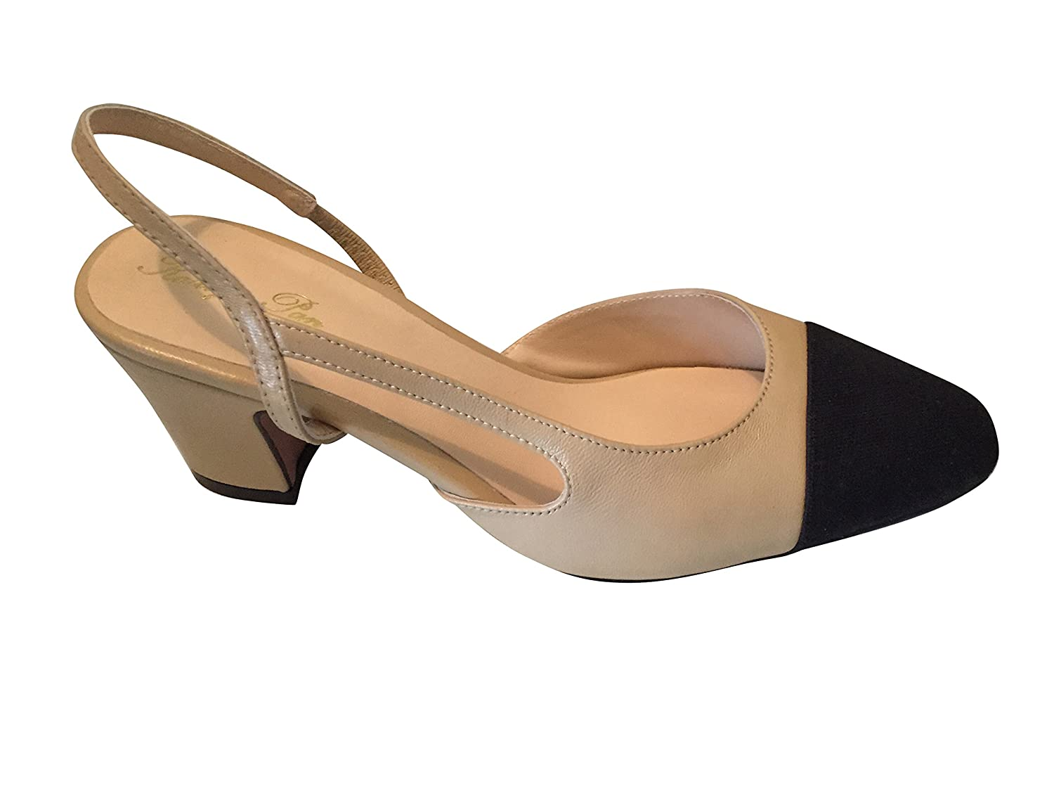 Kaitlyn Pan Genuine Leather Two Tone Block Heel Slingback Sandals B01DS41W0Q 10.5US/ 43CN|Beige and Black