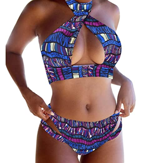 39ac795e9b Sexy Women s Ethnic Color Print Open Chest Halter Bikini Set Push-up Padded  Bra Swimsuit