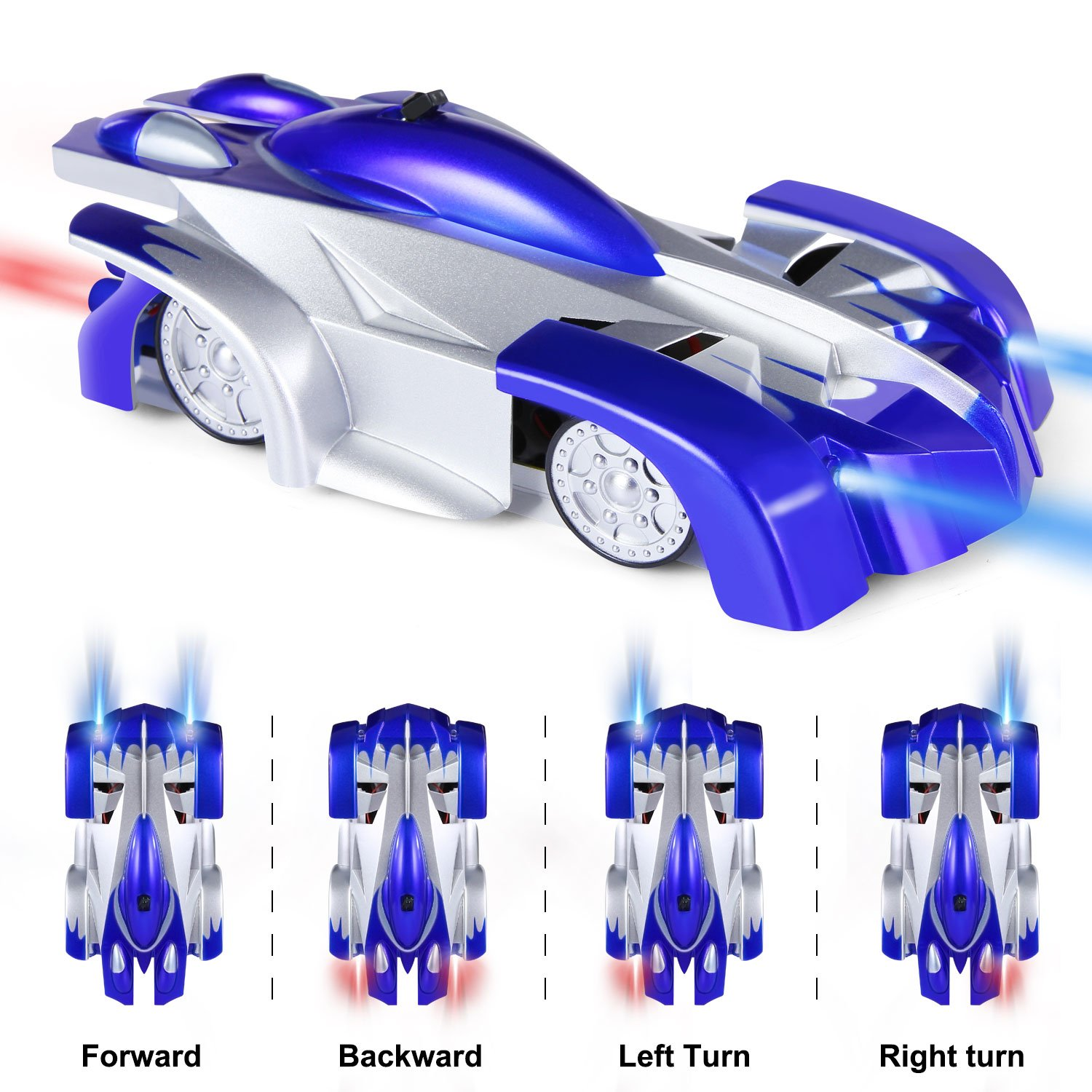 SGILE Remote Control Car Toy, Wall Climbing RC Car - Dual Mode 360° Rotating LED Head Stunt Car, Birthday Present Gift for Kids, Blue by SGILE (Image #3)