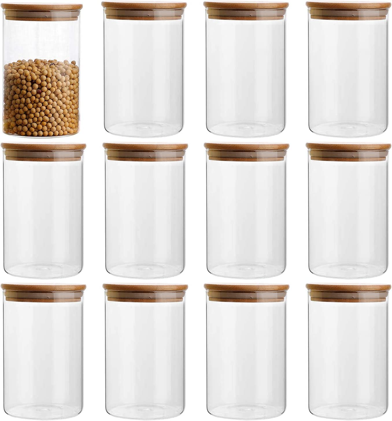 14oz/400ml Clear Glass Food Storage Containers Set Airtight Food Jars with Bamboo Wooden Lids Kitchen Canisters For Sugar, Candy, Cookie, Rice and Spice Jars - Set of 12