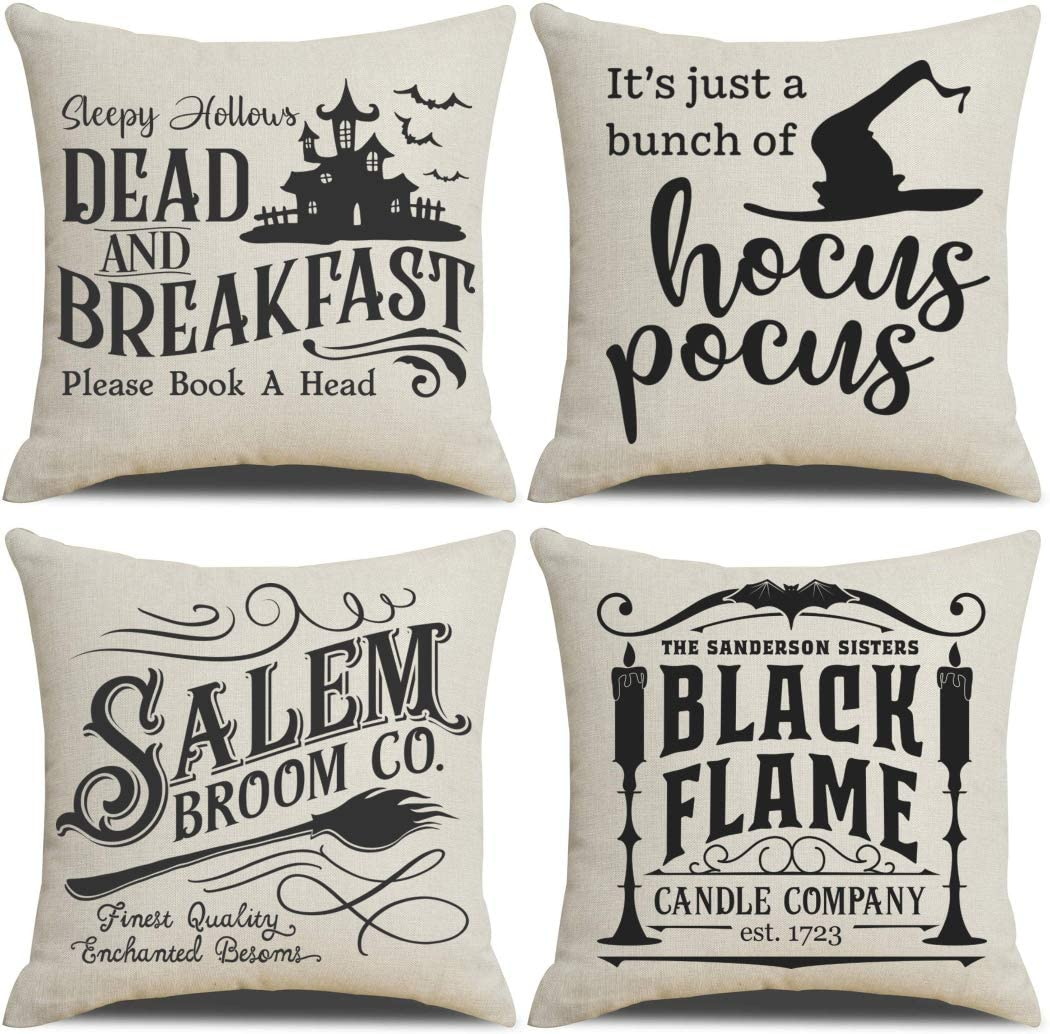 PSDWETS Fall Decor Throw Pillow Covers Set of 4 with Halloween Decorations Quotes Cotton Linen Home Pillow Covers 18 x 18 Inches for Rustic Modern Farmhouse