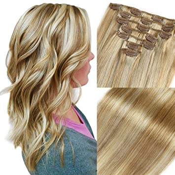 Amazon Com Clip In Hair Extensions Blonde Highlighted Human Hair Balayage Ombre Long Hair Extensions Strawberry Blonde With Bleach Blonde 16 Inch 7 Pcs Fine Hair Full Head 27 613 Silky Straight 70g