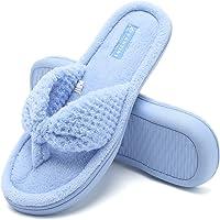Fantiny Women's Cozy Memory Foam Spa Thong Flip Flops House Indoor Slippers Plush Gridding Velvet Lining Clog Style