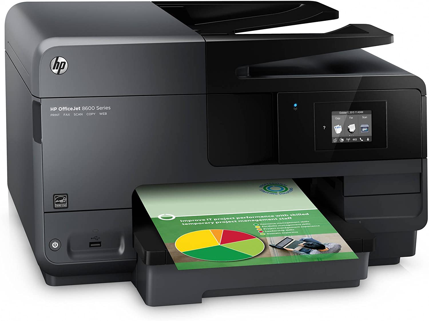 HP OfficeJet 8600 Inkjet e-All-in-One Wireless Color Multifunction Two-Sided Printing Printer, Copier, Scanner & Fax Machine with Mobile Printing