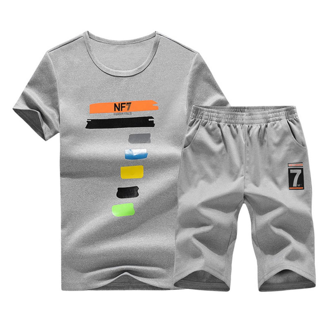 Real Spark Athletic 2Pcs T-Shirt & Shorts Set for Big Boys, Gym Running Sports Suit Grey XS