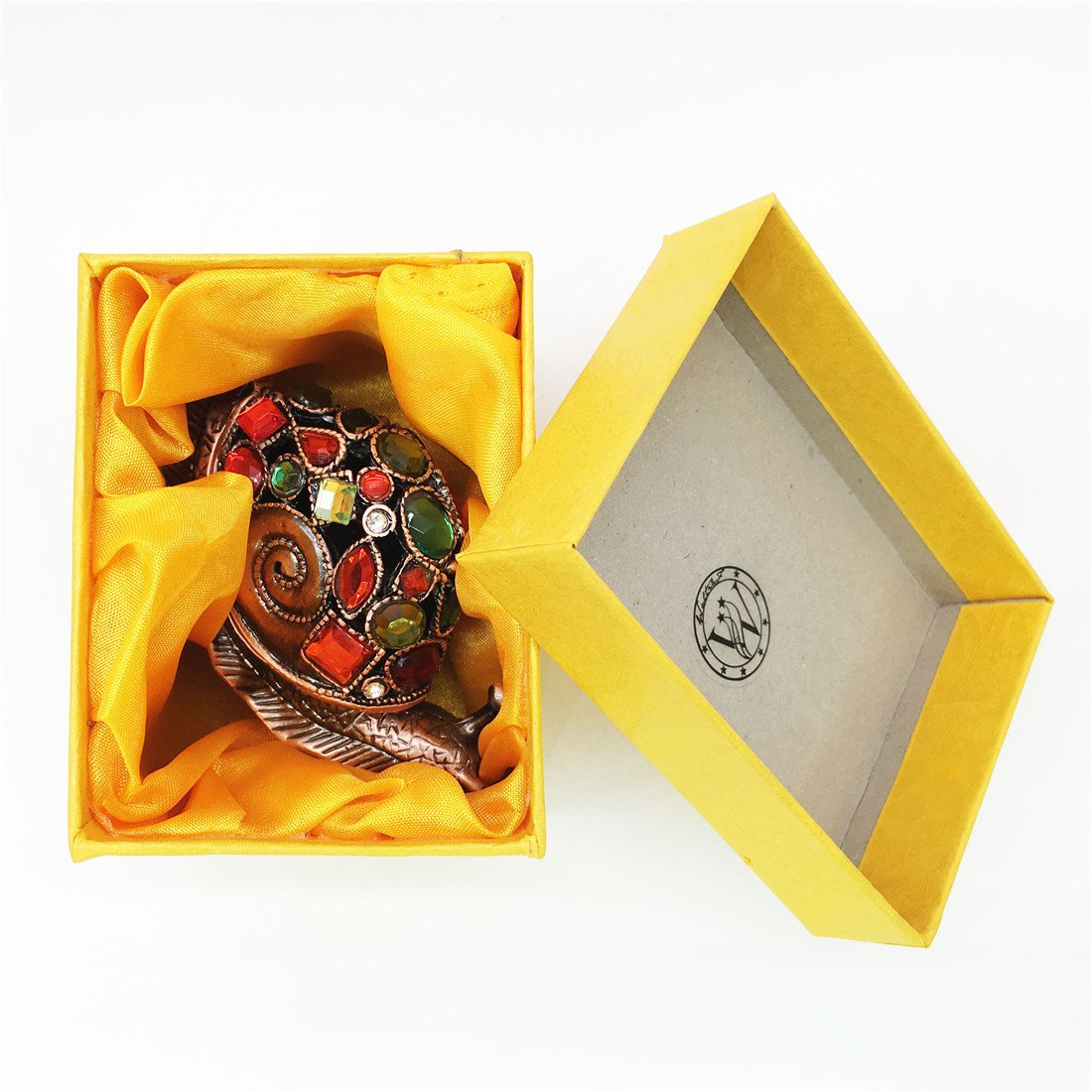 Waltz&F Bronze snail Figurine Collectible Hinged Trinket Box Bejeweled Hand-painted Ring Holder