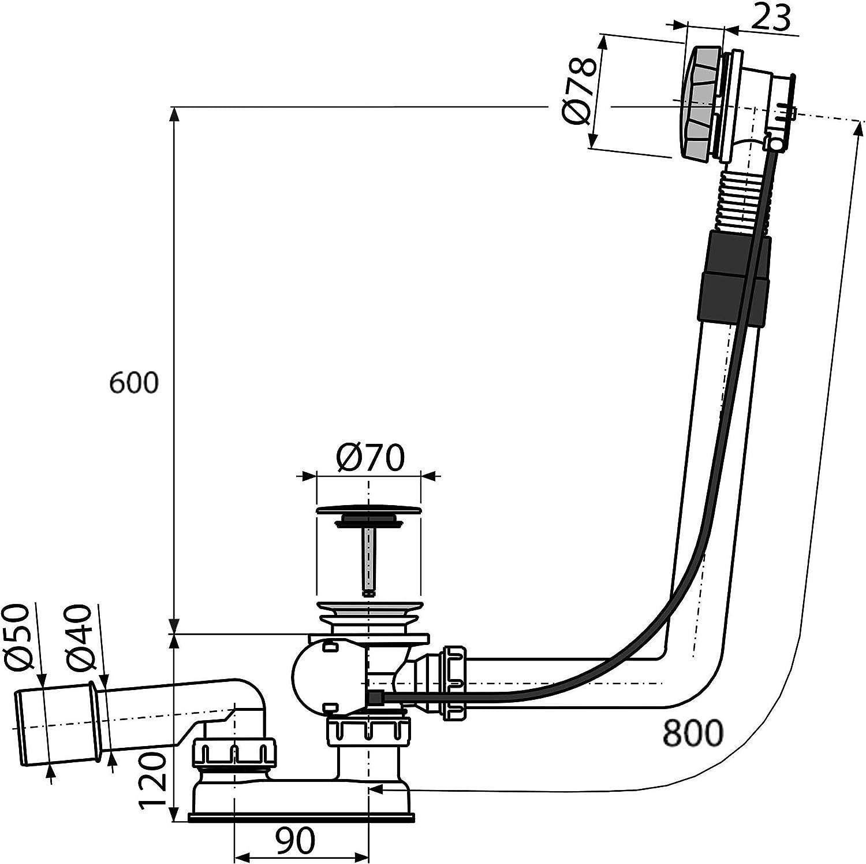 AlcaPlast A550KM Badewannen Ab /& /Überlaufgarnitur 80cm mit Bowdenzug f/ür Sonderwanne