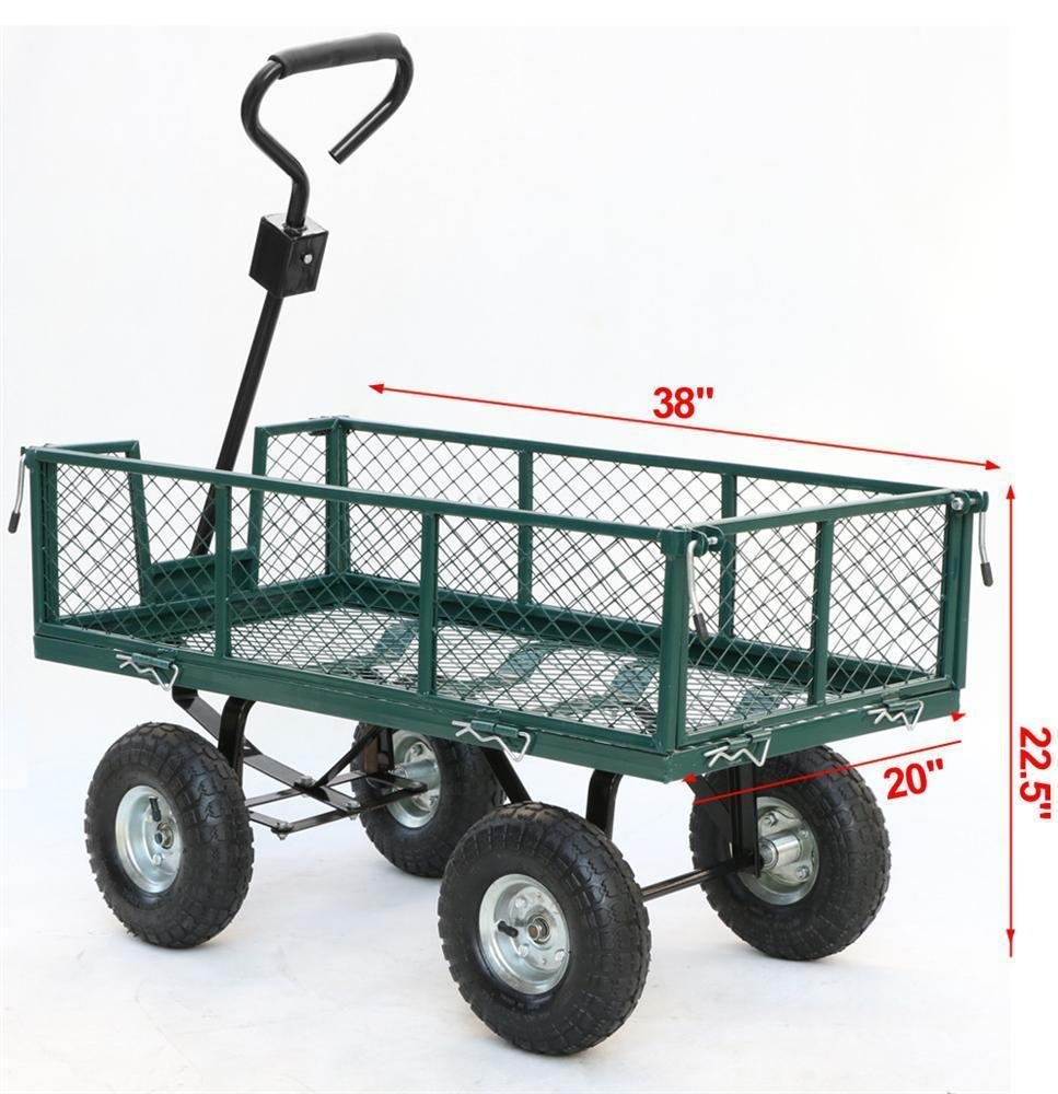 Amazon.com : Steel Heavy Duty Utility Wagon Wheelbarrow Lawn Cart Yard  Crate Garden Supplies : Garden U0026 Outdoor