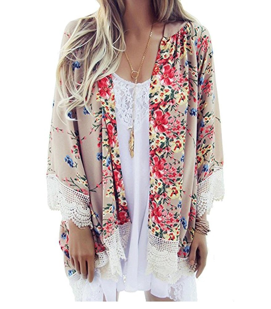 MAYBEYES Womens Loose Floral Chiffon Kimono Cardigan Lace Patchwork Cover up (L)