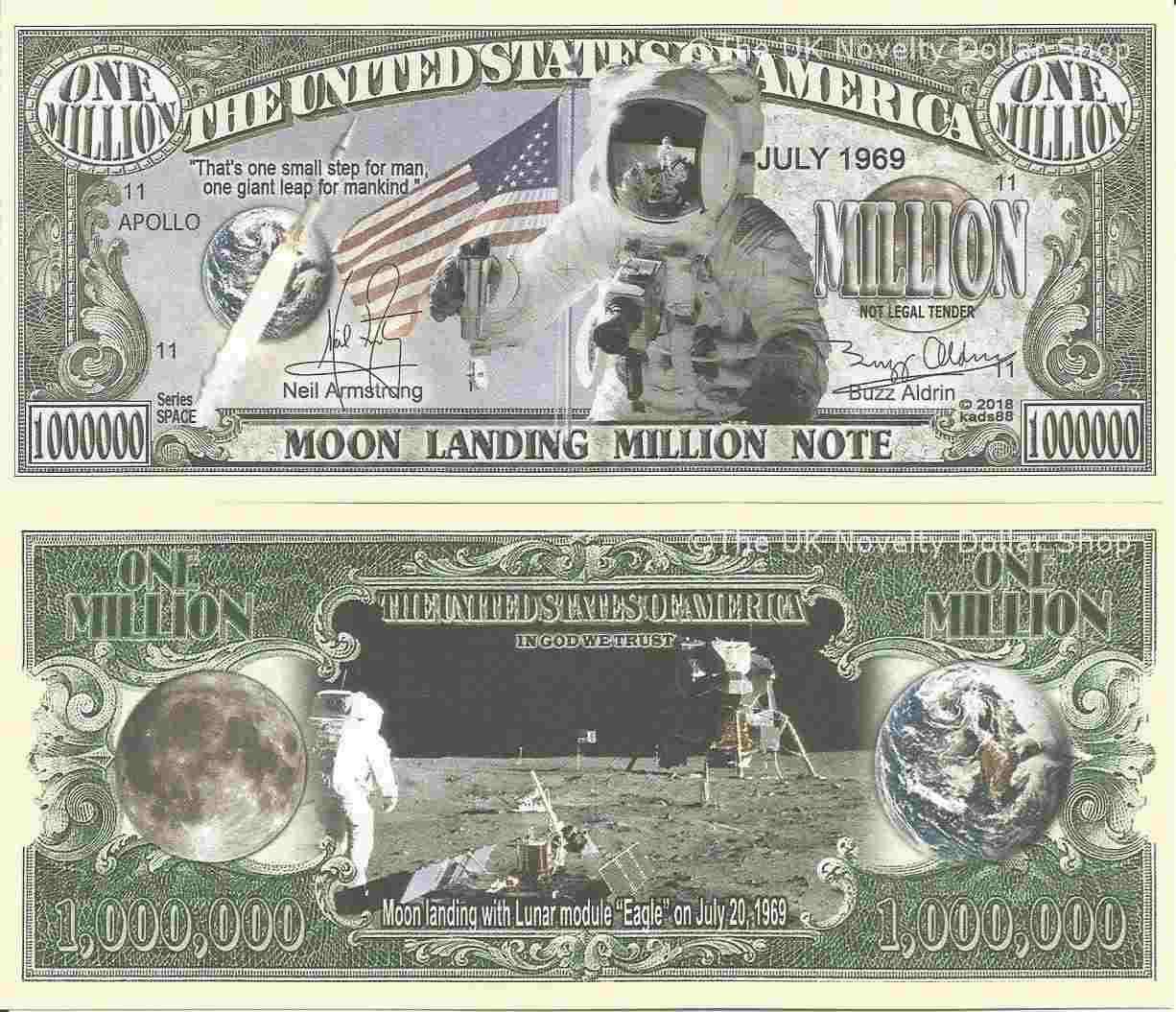 Neil Armstrong Commemorative Million Dollar Bill Lot of 2 BILLS Moon Landing