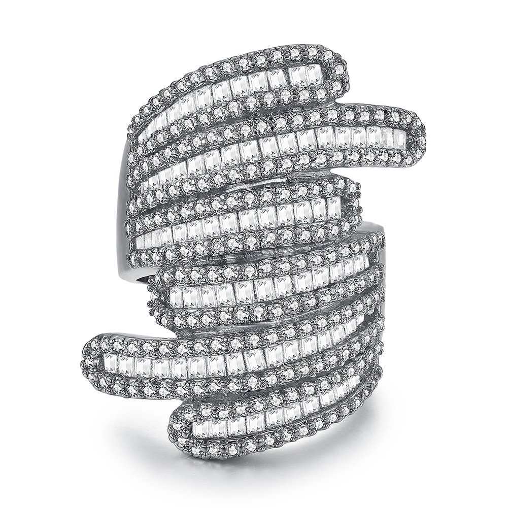 Serend Baguette Design 18k White Gold Plated Cubic Zircon Crystal Cocktail Rings for Womens Girls, Size 9