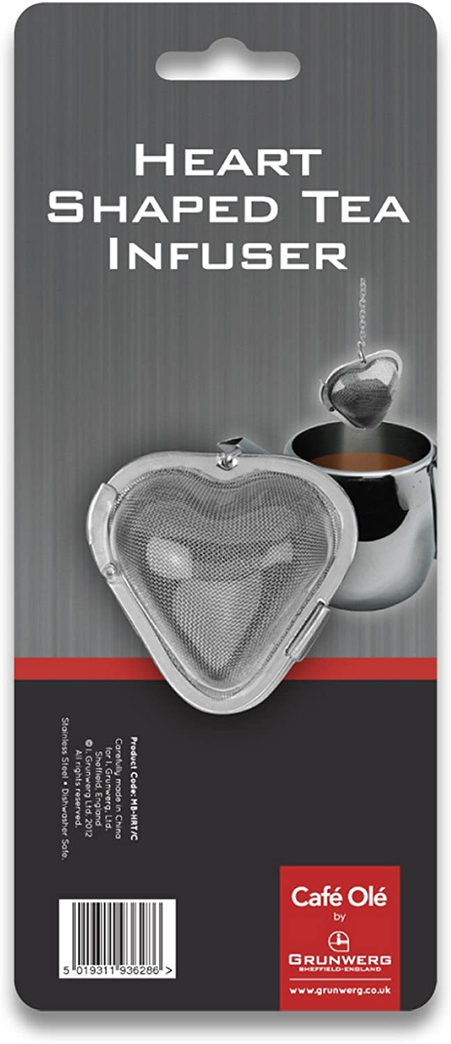 Stainless Steel Caf/é Ole The Stal Heart Shaped Mesh Tea Infuser Ball Strainer