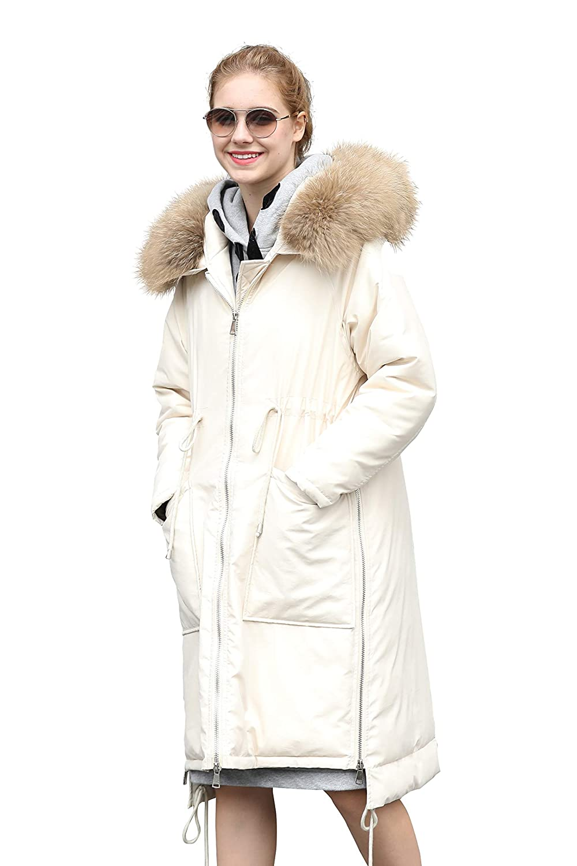 you.u Classic Women Water Resistent Parka with Faux Fur Hood Trim
