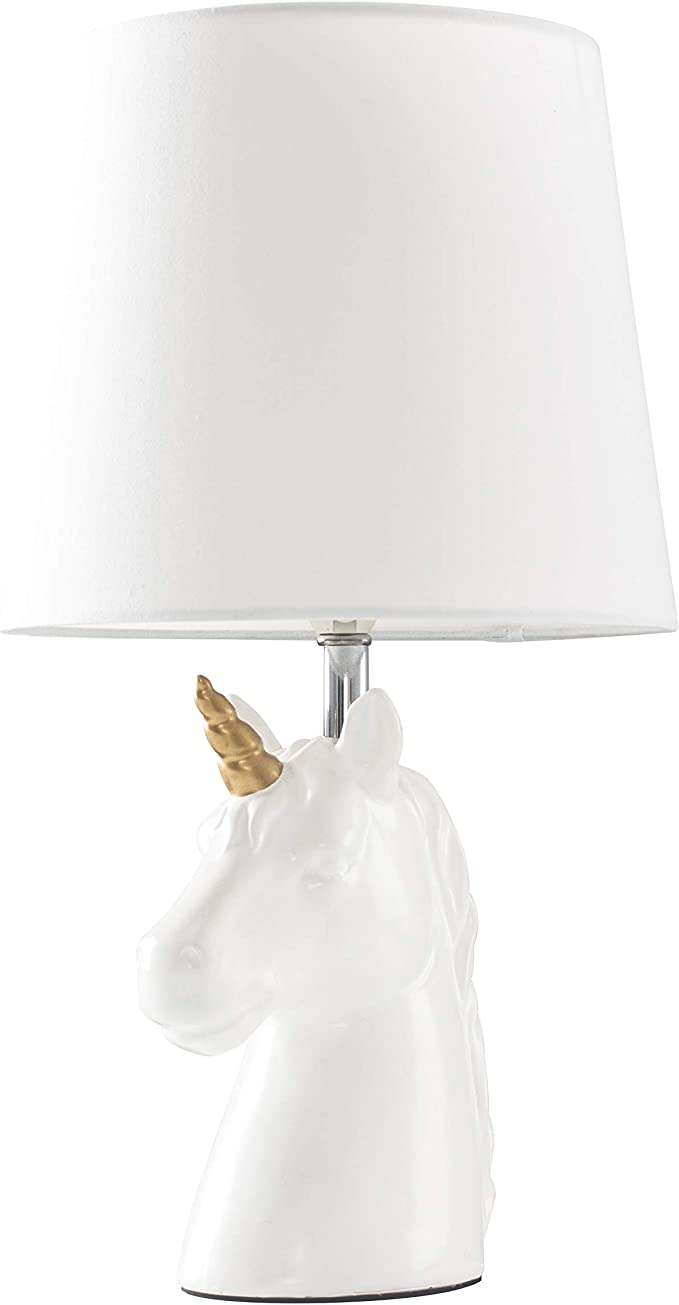 Gloss White and Gold Ceramic Unicorn Table Lamp with a White Tapered Light Shade