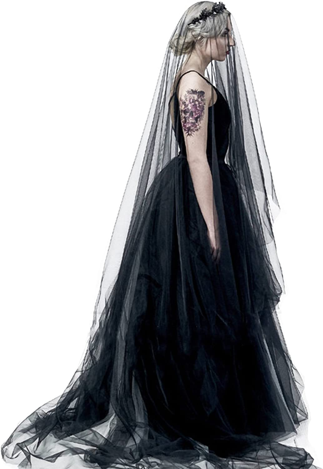 1 Tier White Veil Vintage Long Wedding Veil Bridal Cathedral Veil without Comb
