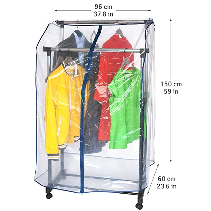 ArtMoon Anti Duster Cubierta Funda Protectora para Perchero Ropa Transparente con Cremallera Fuerte 96X60X150cm