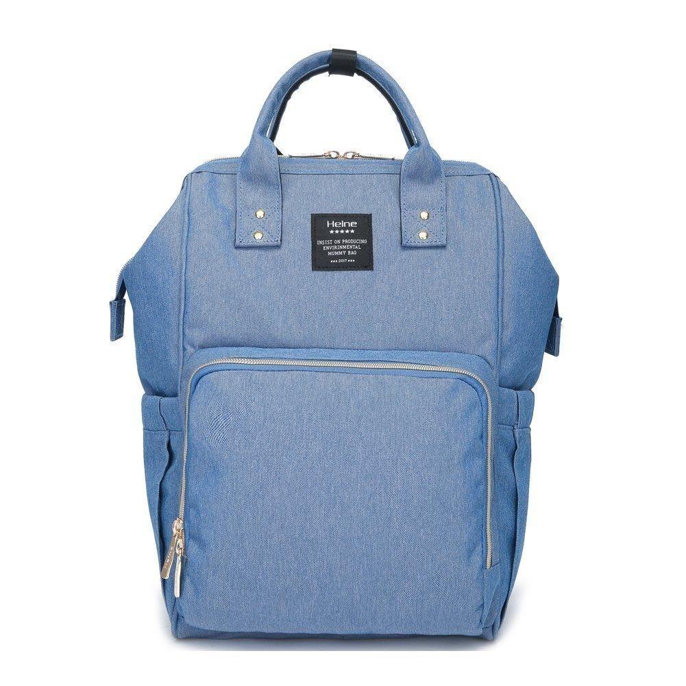 Waterproof Mummy Bag Baby Water Feeding Bottle Portable Nappy Diaper Bag Backpack Large Capacity (Blue)
