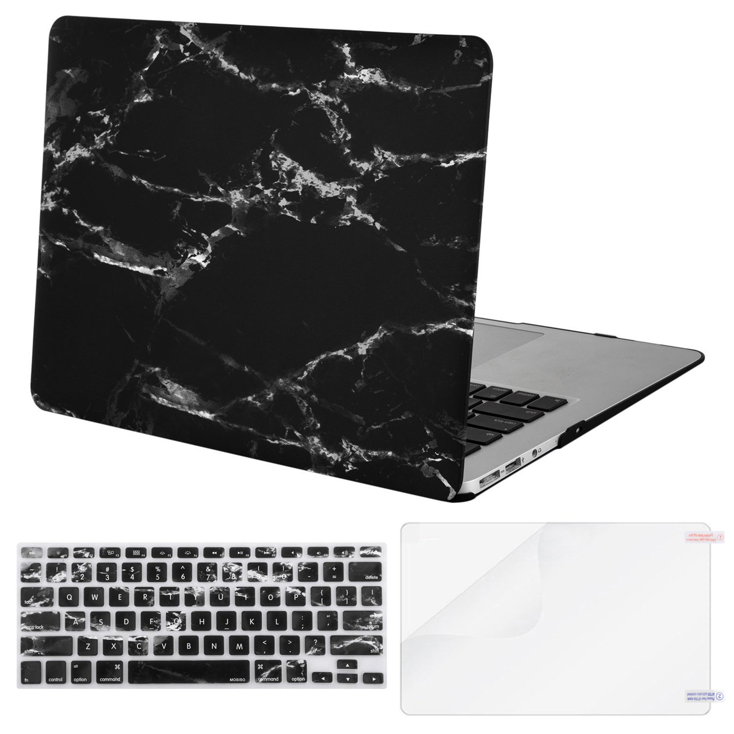 MOSISO Plastic Pattern Hard Case Shell & Keyboard Cover & Screen Protector Compatible MacBook Air 11 Inch (Models: A1370 and A1465), Black Marble