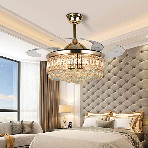 Ruiwing Gold Crystal Ceiling Fan
