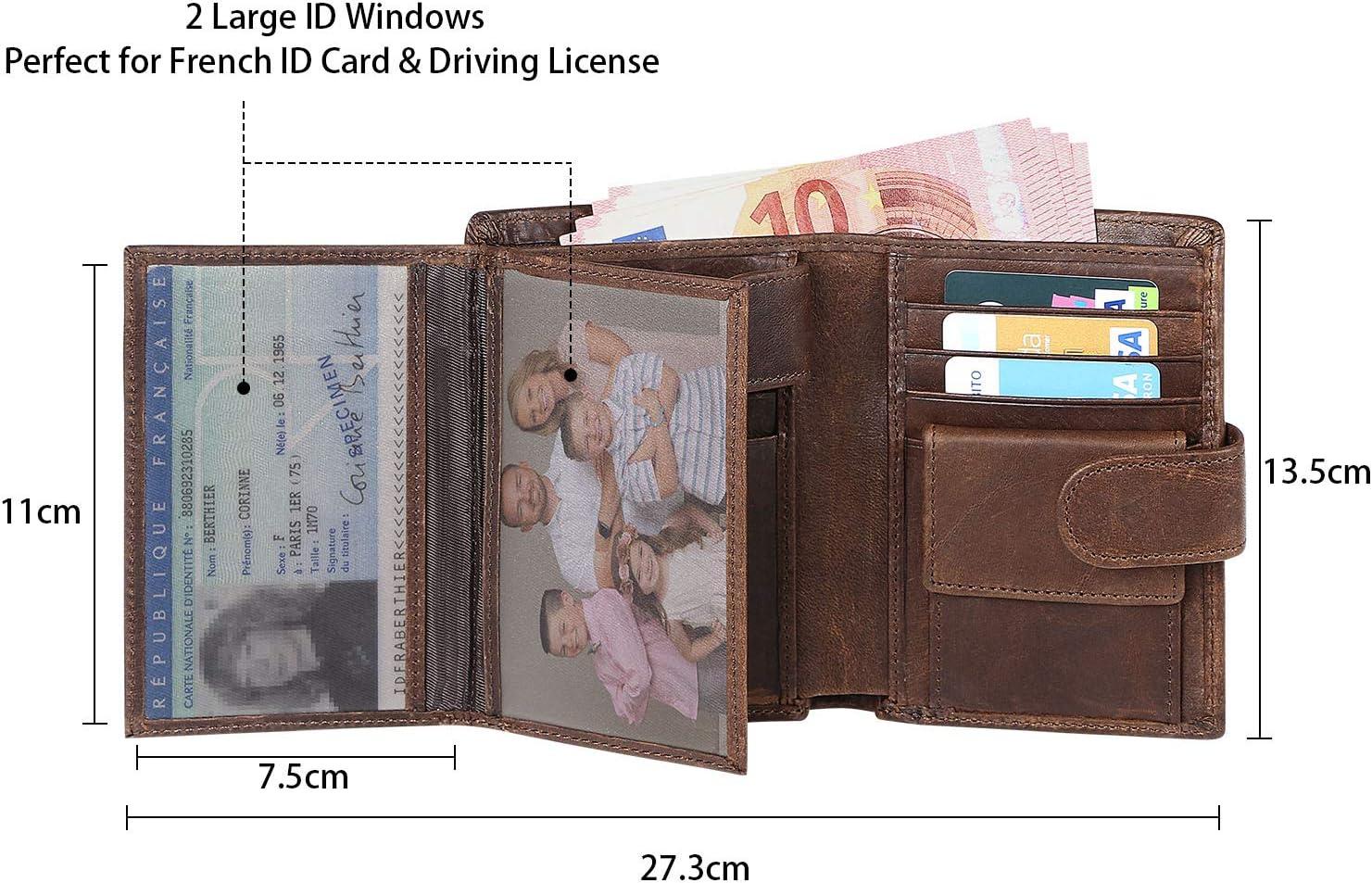 flintronic® Billetera de Cuero Genuino, Billetera Bifold Hombres, Monedero de Bloqueo RFID, Titular de la Tarjeta de Crédito con Coin Pocket | 14 ...