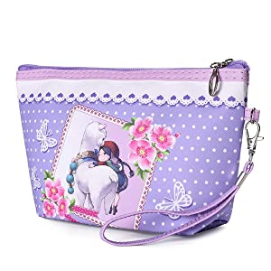 Women's Travel Cosmetic Bags Small Makeup Clutch Pouch Cosmetic and Toiletries Organizer Bag, Cute Waterproof Portable Purse Pouch Handbag Organizers(B)