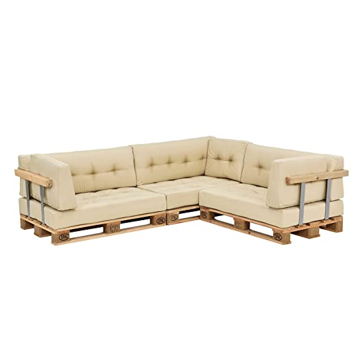 [en.casa]®] Set de Cojines para sofá de palés - 3 Cojines de Asiento + 3 Cojines de Respaldo + 3 Cojines de Esquina [Beige] para Interior/Exterior
