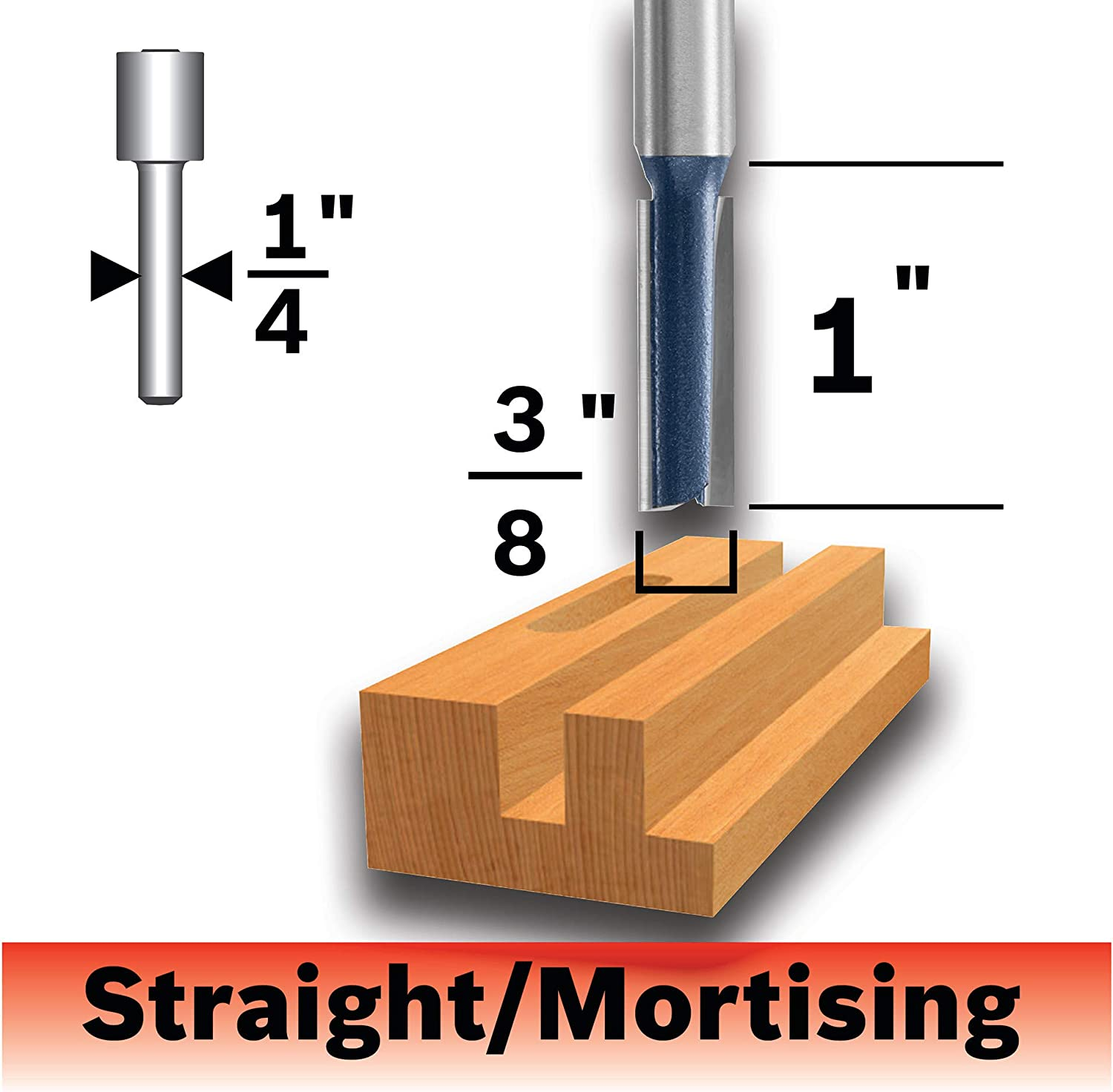 Bosch 85225MC 3/8 In. x 1 In. Carbide-Tipped Double-Flute Straight Router Bit