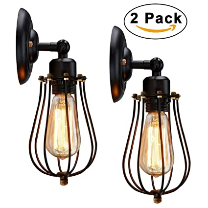 Wire Cage Wall Sconce KingSo 2 Pack Dimmable Metal Industrial Oil Rubbed Bronze Light